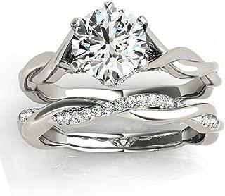 Allurez Pave Diamond Accented 6-Prong Twisted Bridal Set Setting in Palladium (0.19ct)