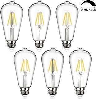 LED Edison Bulb Dimmable 60W Equivalent 800 Lumens, Daylight White 4000K, 6W ST64 Vintage LED Filament Light Bulbs, Antique Style Lighting, E26 Medium Base, Pack of 6