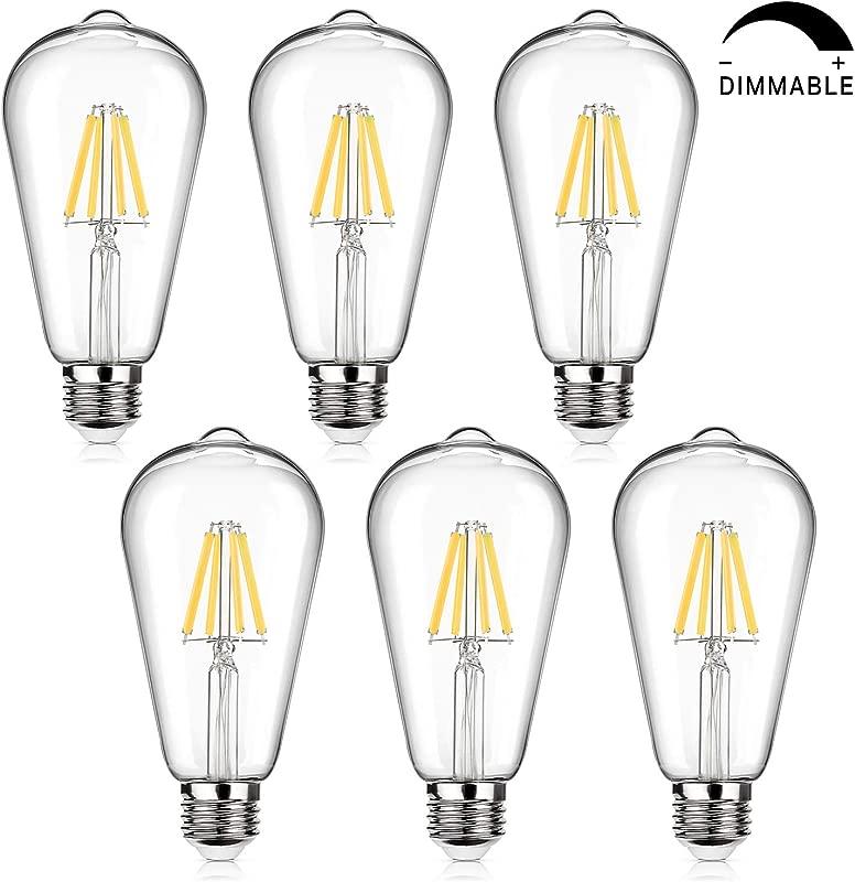 LED Edison Bulb Dimmable 60W Equivalent 800 Lumens Daylight White 4000K 6W ST64 Vintage LED Filament Light Bulbs Antique Style Lighting E26 Medium Base Pack Of 6