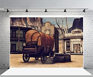 Laeacco 10x6.5ft Vinyl Backdrop Photography Background Wooden Town Ancient Old Wagon Wild West Scene Banic House Wood Grunge Background Children Baby Personal Back Drop Photo Portrait