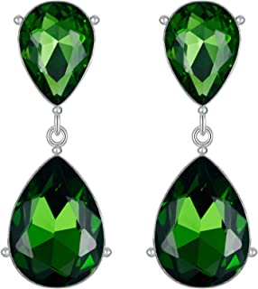 EVER FAITH Silver-Tone Teardrop Dangle Earrings Emerald Color Austrian Crystal
