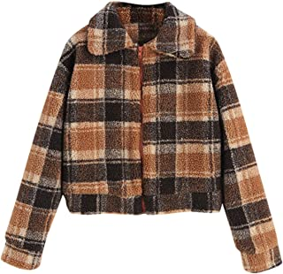ZAFUL Women's Winter Warm Fluffy Faux Fur Plaid Short Coat Turn-Down Collar Zipper Jacket Outwear