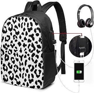 Lawenp Mochila para portátil de Viaje con Estampado de Leopardo en Blanco y Negro con Monograma, antirrobo para Empresas, Delgada y Duradera con Puerto de Carga USB, Mochila para Ordenador de la esc