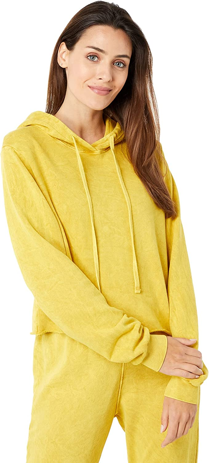 LAmade Sand Washed Gigi Cropped Pullover Hoodie in Crepe French Terry