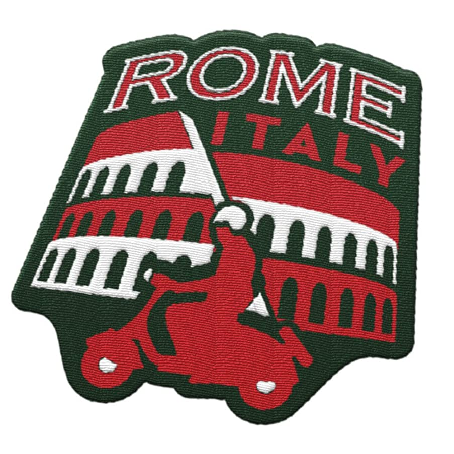 Rome Italy Travel Patch featuring the Roman Colosseum and Vespa / Great souvenir for backpacks and luggage / Backpacking and travelling badge.
