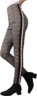 Skinny Plaid Pants for Women, Comfort Elastic High Waist Pull On Striped Leggings