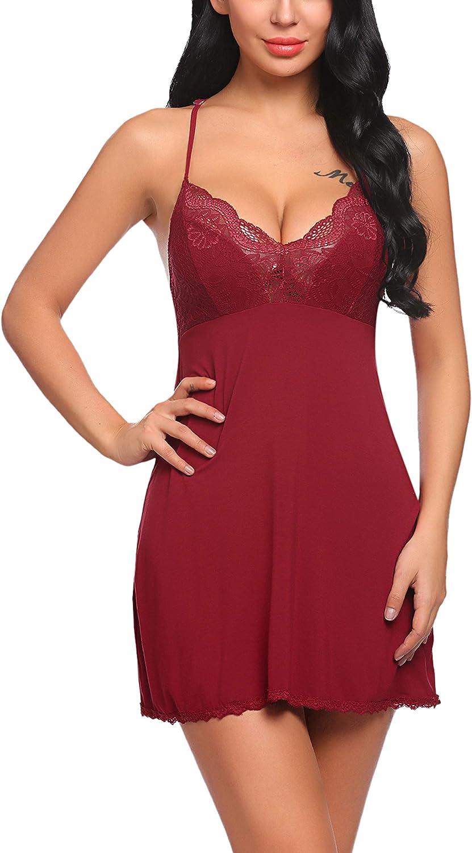 ADOME Women Sexy Lingerie Nightgown Modal Sleepwear Lace Babydoll Full Slips