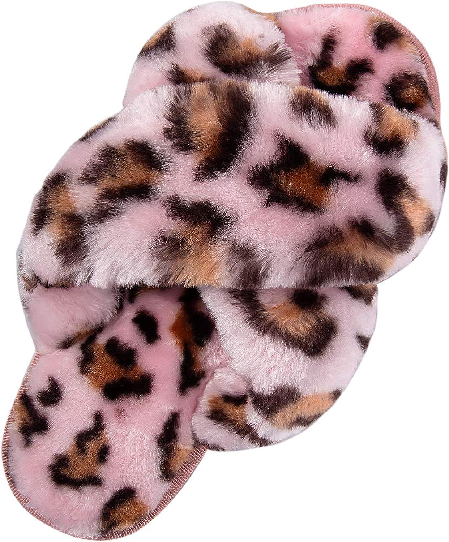 Bhupen Slippers for Women,Cross Band Soft Plush Fleece Slip On House Open Toe Slippers Indoor Outdoor