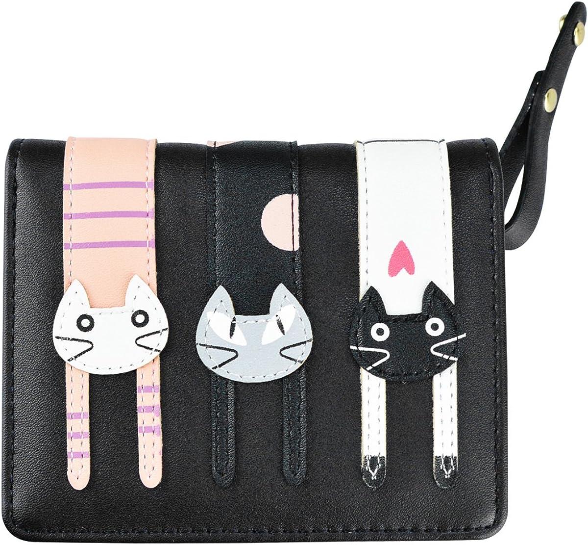 Girl's Short Cute Cat Purse Buckle Small Cartoon Zipper Wallet Very Chicago Mall popular