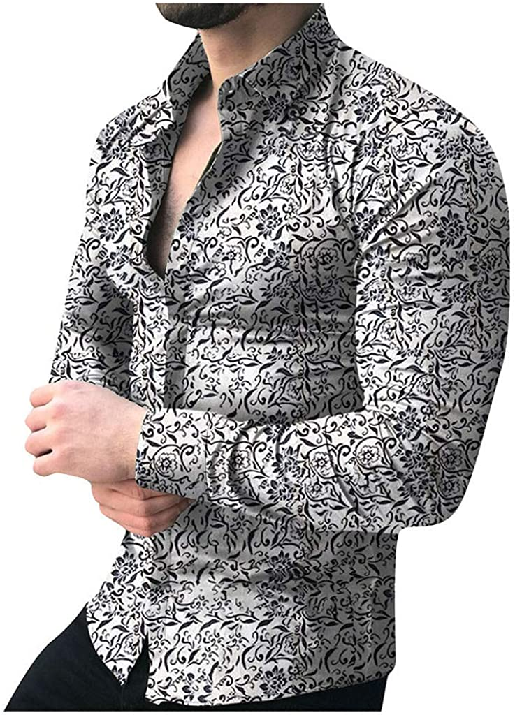 Mens Long Sleeve Buttom Down Shirt Casuall Hawaiian Print Beach Tee Tops Summer Autumn Blouse