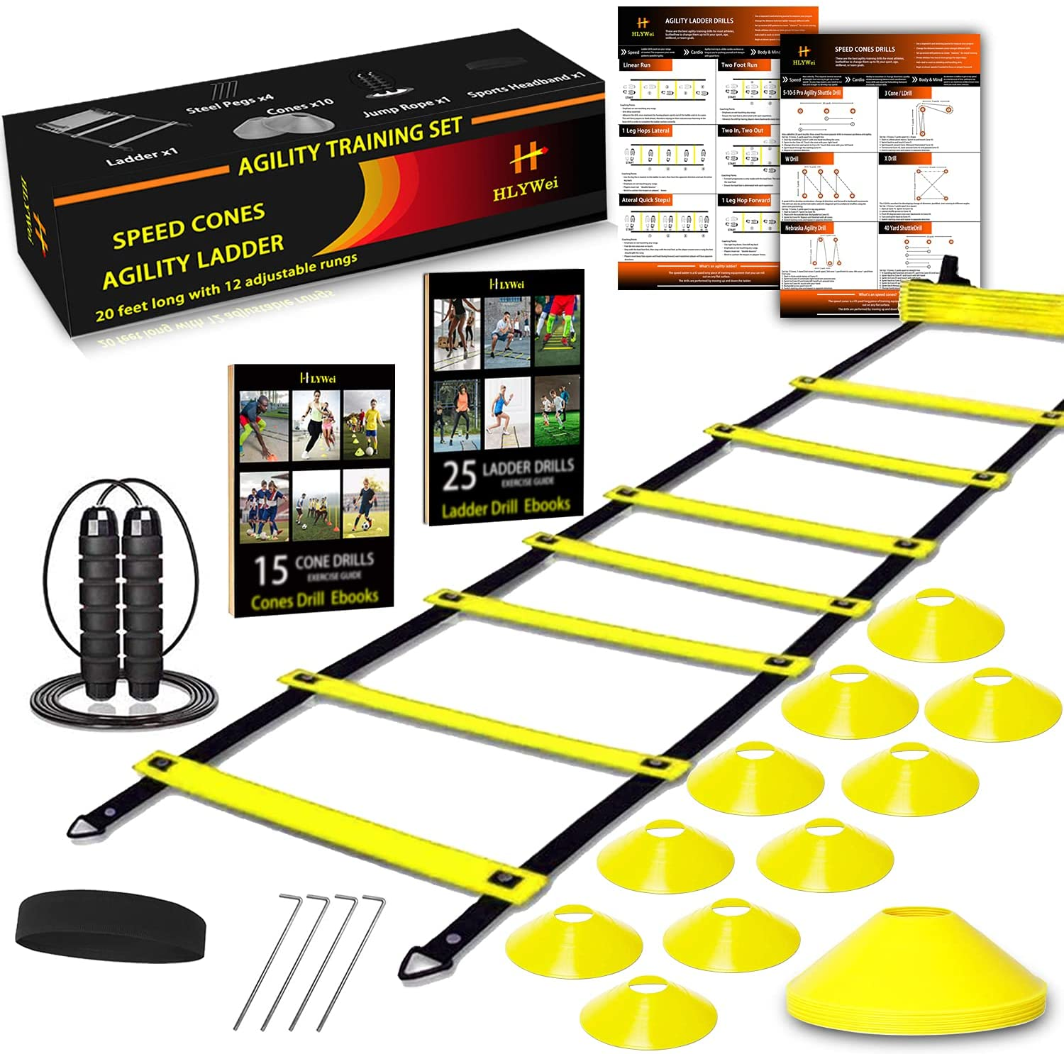 HLYWEI Speed Agility Dealing full price reduction Training overseas Set Includes 1 Ladder 4