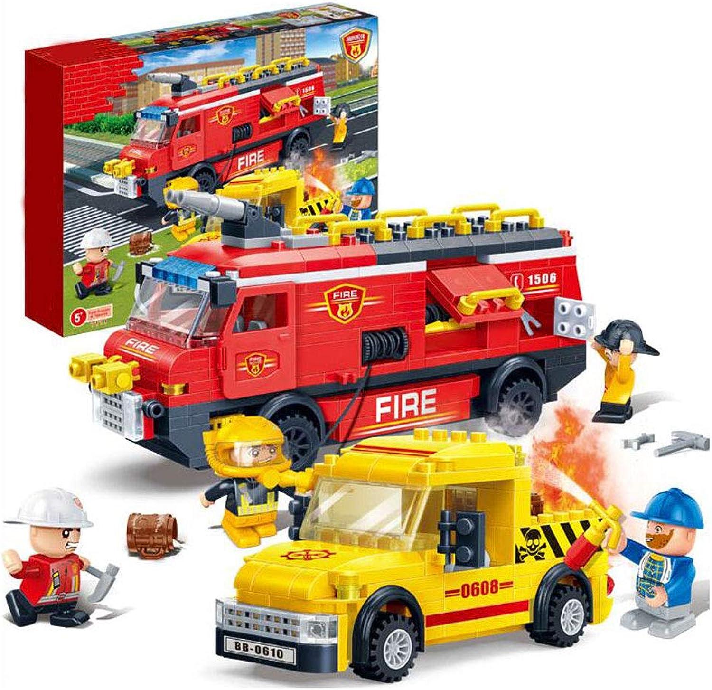 Stadt Feuerwehrauto, Kinder Bausteine Spielzeug, Kinder Bausteine, Montage Pullback Autos, Bauspiele, Bausteine, Baustze (393 Stück)