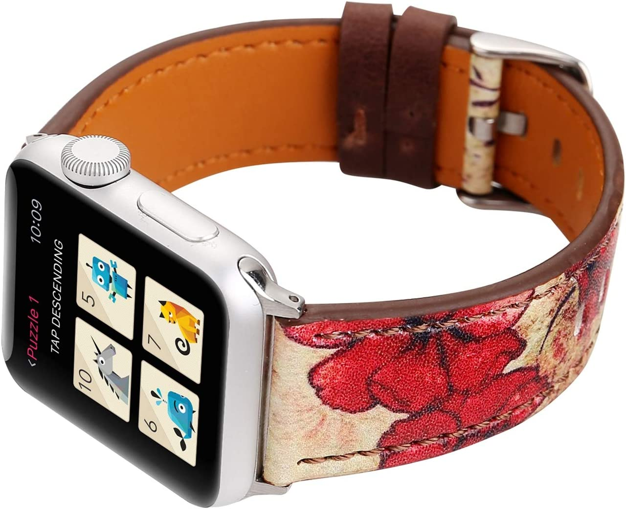 Compatible with Apple Watch Band 42mm 44mm, [Red Floral Flower] Vintage Print Soft Leather Watch Strap Replacement Wristband Bracelet for Apple Watch Series 5 4 (44mm) Series 3 2 1 (42mm)