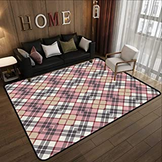 Outdoor Rugs,Abstract,Irish Vintage Fashion Tartan Motif Ethnic Royal Lines Picture Print,Pale Pink Ivory Grey 71