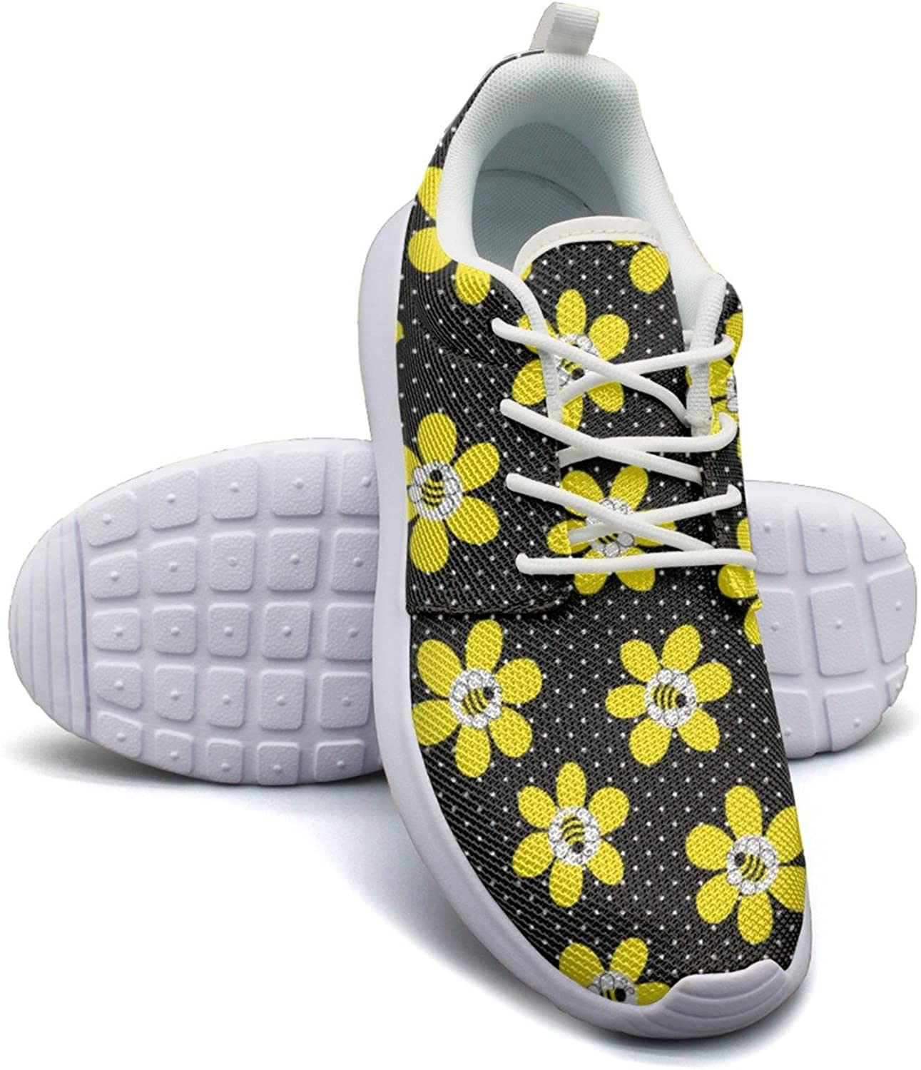 Black Yellow Bee Flowers Bright Running shoes Women size 7.5