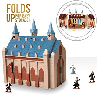 HARRY POTTER Hogwarts Great Hall Mini Playset with 5 Interactive Features, 4 Mini Figures, Podium, Goblet, Plus Works with Wizard Training Wands (Sold Separately)