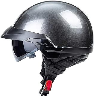 certificaci/ón Dot Electric Scooter Casco de Verano semicubierto para Hombres y Mujeres al Aire Libre,M MMRLY Harley Retro Motorcycle Half Helmet