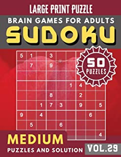 Sudoku Medium: Sudoku medium difficulty for Senior , mom , dad Large Print (Sudoku Brain Games Puzzles Book Large Print Vol.29) [Idioma Inglés]