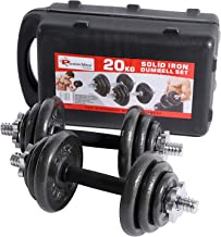 PowerMax Fitness PDS-20KG Dumbbell Set with Non-Slip Grip for Home Use