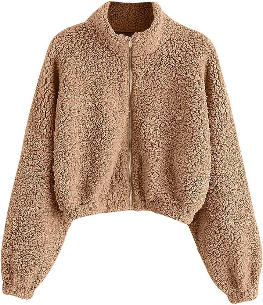 ZAFUL Women's OFFicial Faux Fur Fuzzy Coat Jacket Full Drop Boston Mall Shoulder Zip