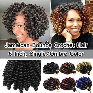 SEGO 6 Inch Jamaican Bounce Crochet Hair Jumpy Wand Curl Short Curly Jamaican Crochet Braids Synthetic Crochet Braiding Hair Extensions Twist Braid Hair #1B Natural Black 3 Bundle