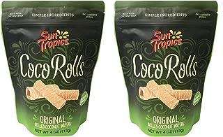 Sun Tropics Non-GMO Rolled Coconut Wafer Rolls 4oz, 2 Pack (Original)