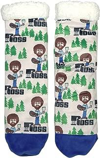 Oooh Yeah Unisex Cozy Bob Ross Hppy Tree Clouds Sherpa Slipper Socks
