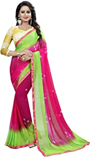 CRAFTSTRIBE New Chiffon Indian Women Saree Ethnic Wedding Sari with Un-Stitch Blouse Piece