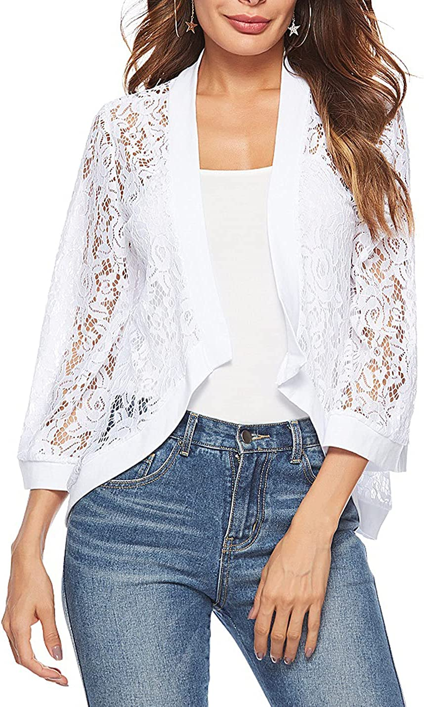 PEHMEA Women's 3/4 Sleeve Floral Lace Shrug Open Front Bolero Cardigan Crop Jacket (White, s)