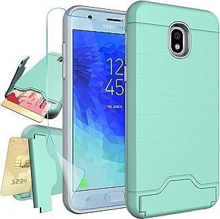 Samsung Galaxy J3 2018,J3 Achieve,Express Prime 3,J3 V 3rd Gen,Amp Prime 3,J3 Star,J3 Orbit,J3 Prime 2,J3 Eclipse 2 Case with Protector,NiuBox [Card Slot Wallet Kickstand Holster] Phone Case Turquoise