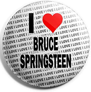 Grand badge à épingle « I Love Bruce Springsteen » - 75 mm - Cadeau d'anniversaire, Noël