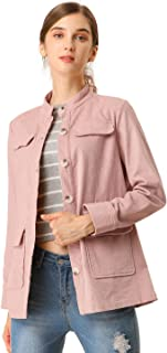 Allegra K Women's Jackets Single Breasted Stand Collar Pocket Casual Corduroy Jacket