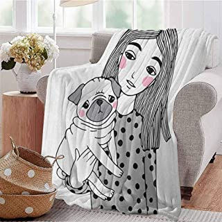 Pug Comfortable Large Blanket Girl Holding Her Pug Sad Looking Animal Affection Between a Pet and Owner Image Microfiber Blanket Bed Sofa or Travel W70 x L70 Inch Black Grey White