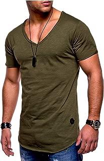 Men's Notch Collar Short Sleeves Cotton Casual Plus Size T-Shirt Top