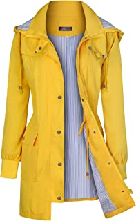 Women's Rain Jacket Waterproof Raincoats Windbreaker Lightweight Outdoor Hooded Trench Coats S-XXL