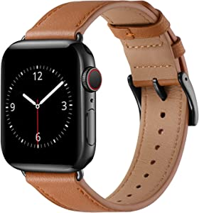 Lovrug Band Compatible with Apple Watch Band 38mm 40mm 41mm SE/Series 7/6/5/4/3/2/1 Genuine Leather Business Replacement Band Smart Watch Strap for Men Women(Brown/Black,38mm/40mm/41mm)