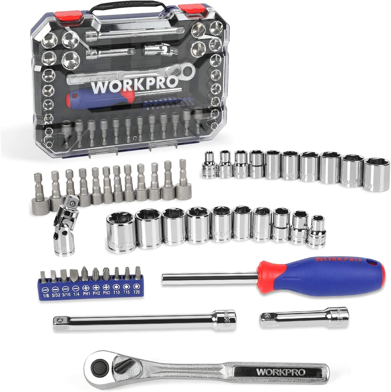 WORKPRO Socket Set Max 52% OFF 47-Piece Excellent 3 with Drive Quick-Re 8