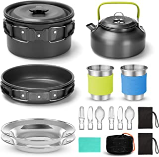 Sponsored Ad - Odoland 15pcs Camping Cookware Mess Kit, Non-Stick Lightweight Pot Pan Kettle Set with Stainless Steel Cups...