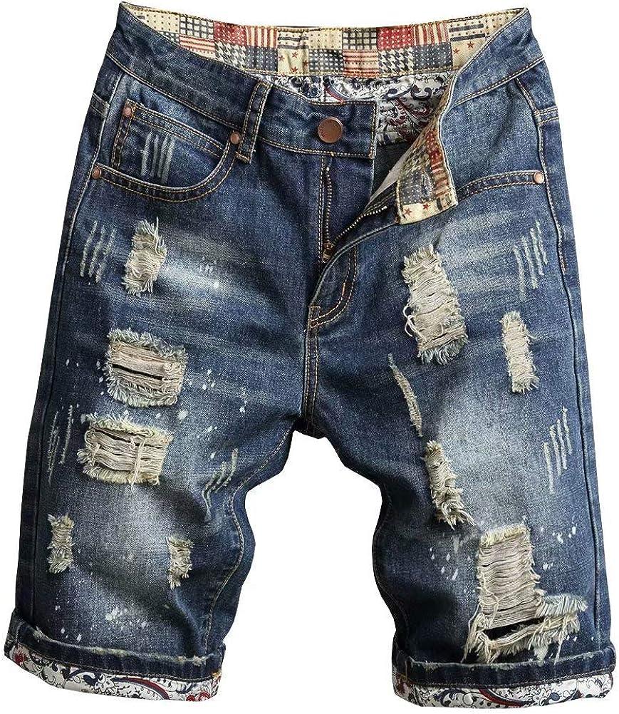 Men's Cool Stylish Wrinkle Performance Slim Ripped Denim Shorts