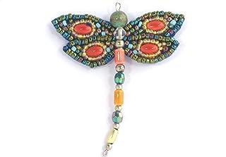 Ton-Bijou-Spilla con libellula, colore: rosso, in porcellana e perle di vetro, gioiello fantasia