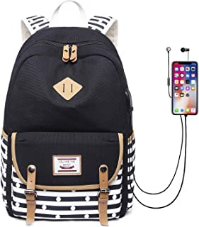 Canvas Travel Laptop Backpacks Womens College Backpack School Bag 15 inch USB Daypack Outdoor (619-Black)