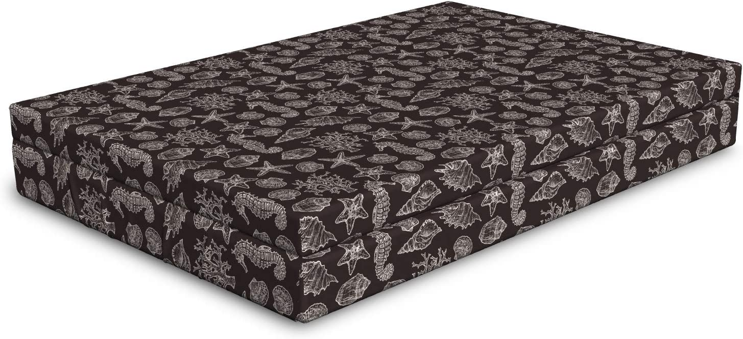 Ambesonne Fees free Max 87% OFF Nautical Dog Bed Vintage Inspired Engraved Seahorse S