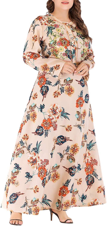 Zhbotaolang Fashion Muslim Women Long Abaya Floral Print Ankle Length Dubai