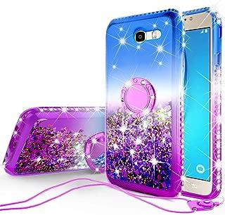 [Coverlab] Liquid Glitter Phone Case Kickstand Compatible for Samsung Galaxy J3 Emerge/J3 Prime/J3 2017/Amp Prime 2/Express Prime 2/Sol 2/J3 Luna Pro/J3 Eclipse/J3 Mission Case,Ring Stand Bling Purple