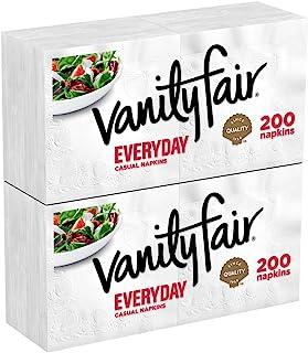 Vanity Fair Everyday Napkins, 400 Count, White Paper Napkins, 2 Packs of 200 Napkins