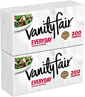 Vanity Fair Everyday Napkins, 400 Count, White Paper Napkins, 2 Packs of 200 Napkins