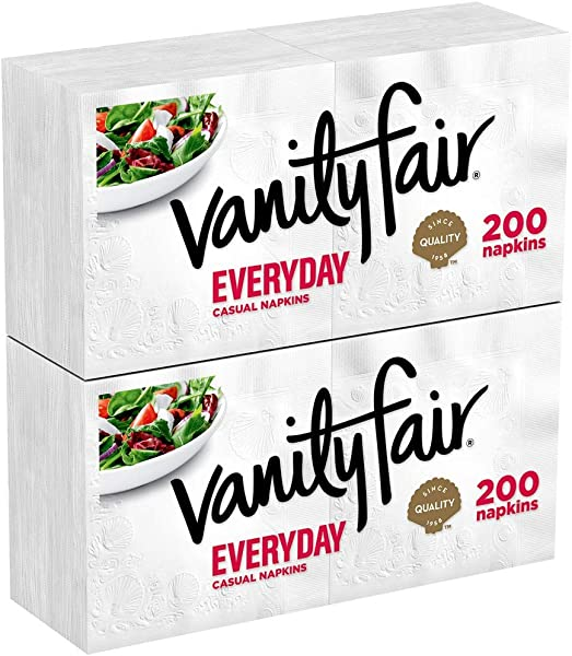 Vanity Fair Everyday Napkins 400 Count White Paper Napkins 2 Packs Of 200 Napkins