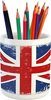 Lunarable British Pencil Pen Holder, Abstract England London Flag Old Vintage Like Print with Shadow Print, Ceramic Pencil Pen Holder for Desk Office Accessory, 3.6