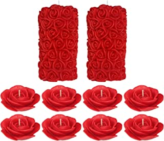 Shraddha Creation Rose Pillar and Floating Rose Decorative Smokeless Designer Candle, Red Color with Rose Fragrance (Combo of 10 Pcs.)