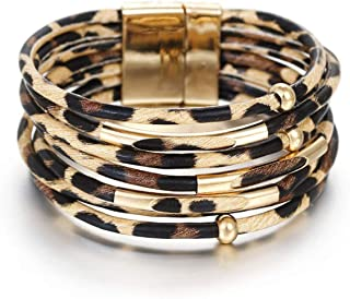 Leopard Wrap Bracelet Leather Cuff Bracelet Layered Bracelets Stacking Bracelets for Women Girls